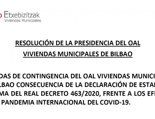 Resolución de la presidencia del OAL Viviendas Municipales de Bilbao